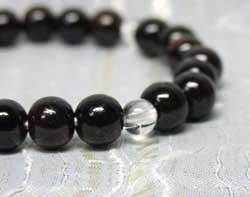 念珠ブレスレット縞黒檀8mm水晶仕立